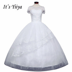 Free shipping wedding dresses 2017 white plus size lace wedding dress cheap short sleeves gowns frock Vestidos De Novia HS149