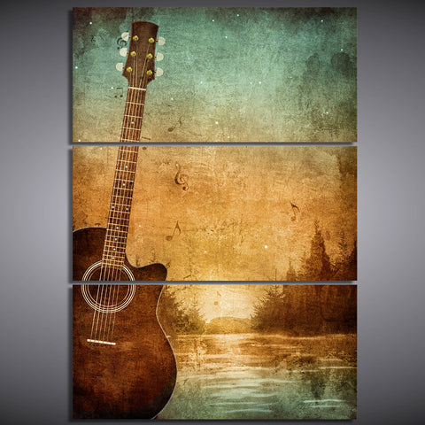 HD printed 3 piece canvas art guitar poster vintage painting wall pictures for living room modern free shipping CU-1796C
