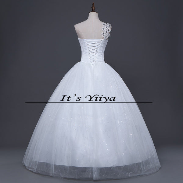 Free Shipping New Cheap Bride One Shoulder Plus size Sequins Wedding Dress Lace up Frocks Bride Ball Gowns Vestidos De Novia H47