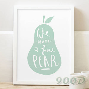 Cartoon Pear Canvas Art Print  Poster, Wall Pictures For child Room Home Decoration Print On Canvas, Frame not include 164-1