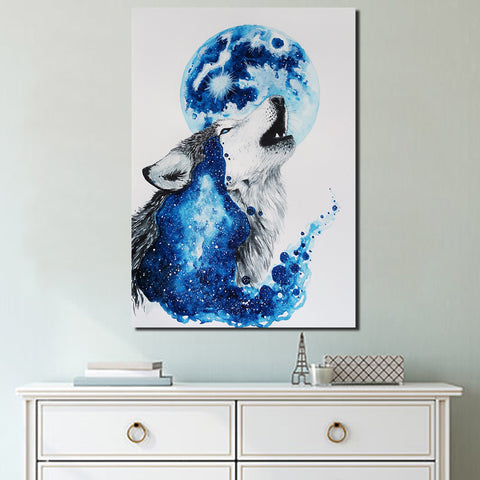 HD Printed 1 Piece Canvas Art Abstract Blue Wolf Painting Framed Modular Wall Pictures for Living Room Free Shipping NY-7063D