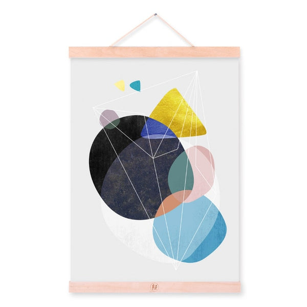 Modern Abstract Geometric Shape Wooden Framed Poster Nordic Living Room Canvas Painting Home Decor Wall Art Print Picture Scroll