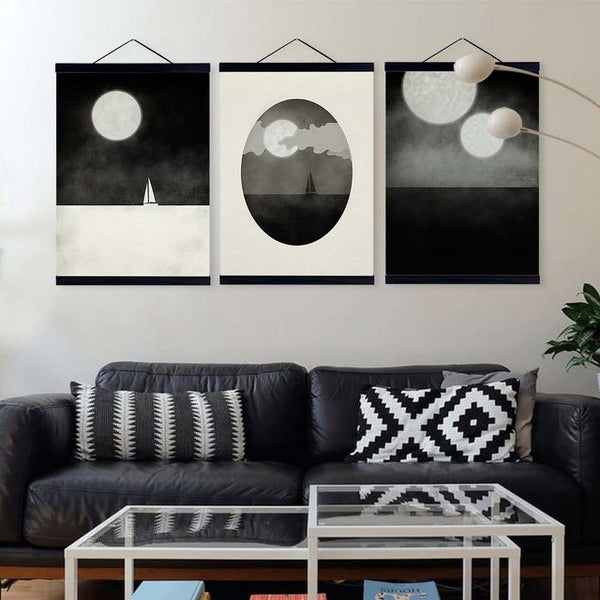 Abstract Marine Sailing Moon Wooden Framed Canvas Paintings Black White Triptych Home Decor Wall Art Print Picture Poster Scroll