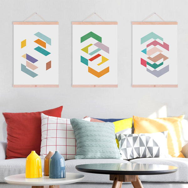 Modern Abstract Color Geometric Shape Wooden Framed Canvas Painting Nordic Living Room Deco Wall Art Print Picture Poster Scroll