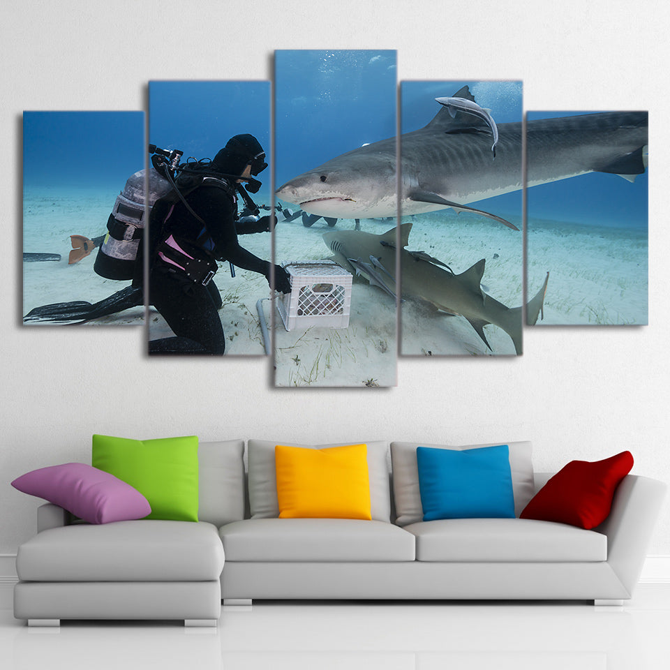 HD Printed 5 Piece Canvas Art Diver and Shark Painting Blue Ocean Large Wall Pictures for Living Room Free Shipping CU-1850C