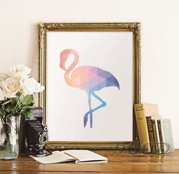 Geometric Flamingo Canvas Art Print Poster, Wall Pictures for Home Decoration, Wall Art Decor FA237-20