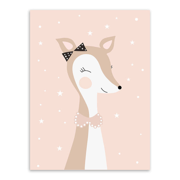 Nordic Kawaii Cartoon Animal Deer Bear Rabbit Poster A4 Baby Kids Room Wall Art Print Picture Canvas Painting Home Deco No Frame