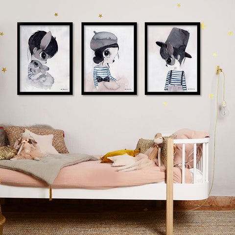 Rabbit Girl Wall Art Canvas Painting Nordic Poater Posters And Prints Art Print Wall Pictures For Living Room No Poster Frame