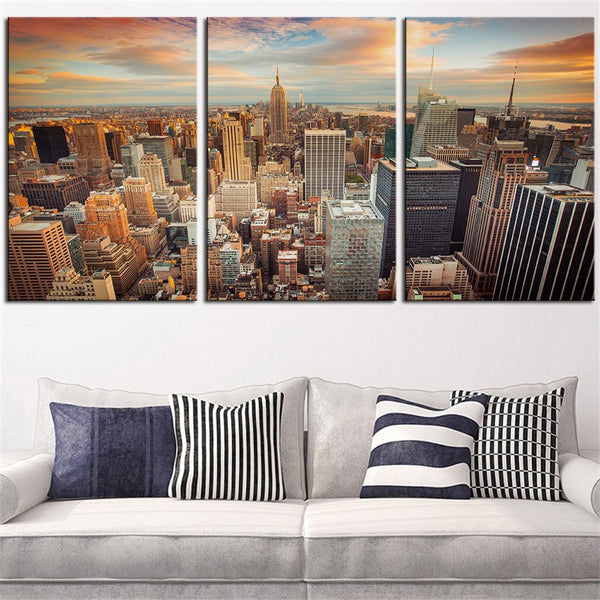 NO FRAME 3pcs new-york-city-seen-sundown Printed Oil Painting On Canvas Oil Painting for Home Decor Wall Decor