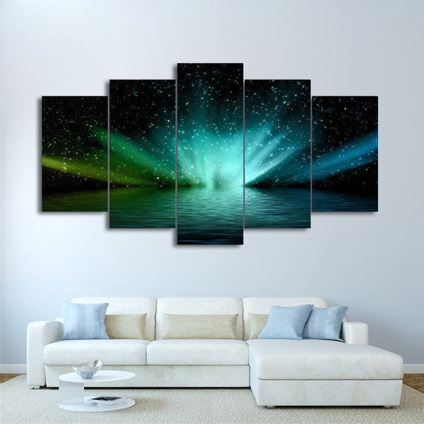 HD Printed 5pc canvas art saurora borealis landscape Painting living room decoration Free shipping/ny-546