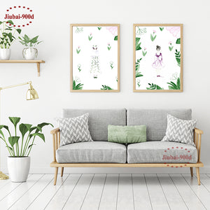 900D Nordic Watercolor Girl in Flowers Art Canvas Prints Poster Wall Pictures for Room Decoration Wall Decor S17001