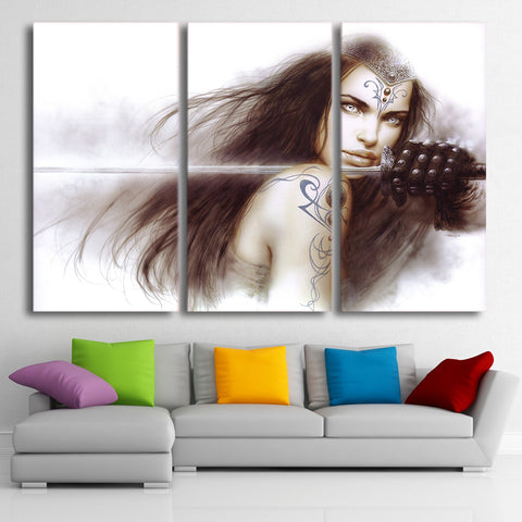 HD Printed 3 Piece Luis Royo Art Girl Sword Canvas Painting Large Framed Wall Pictures for Living Room Free Shipping CU-1858B