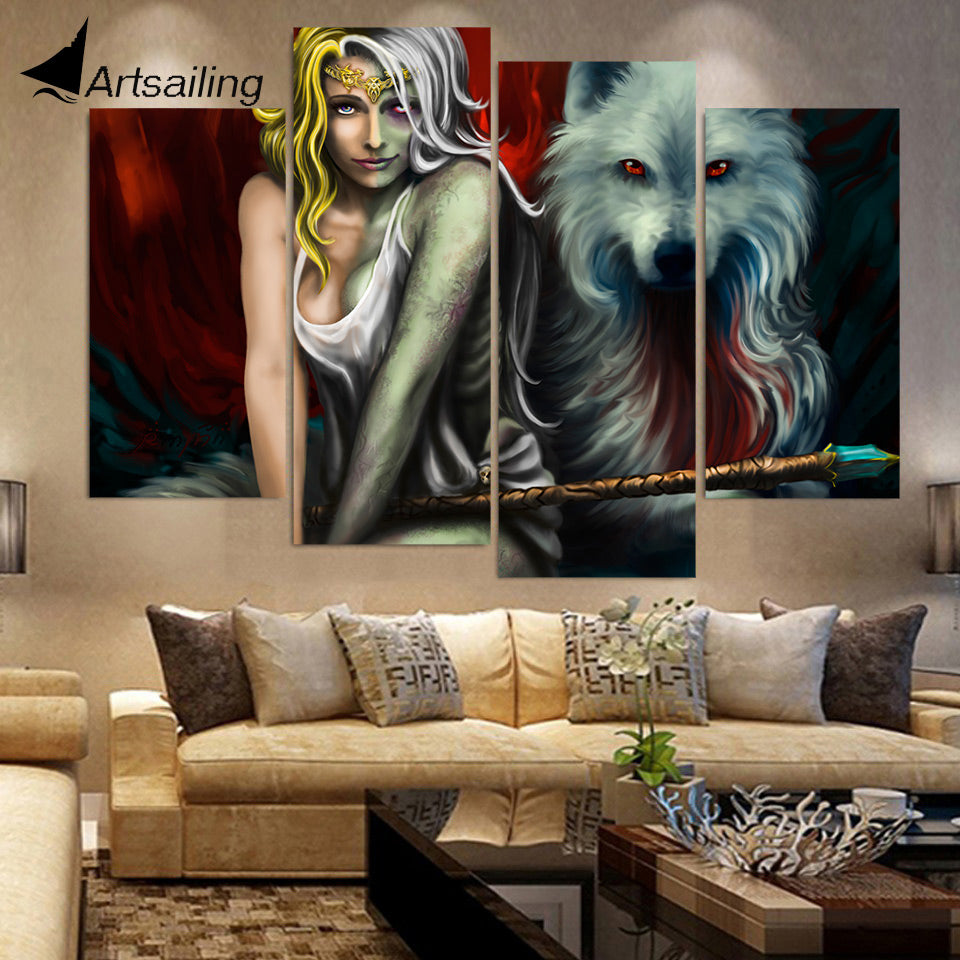 HD Printed 4 Piece Canvas Art Abstract Wolf Woman Painting Wall Pictures for Living Room Framed Modular Free Shipping NY-7030B