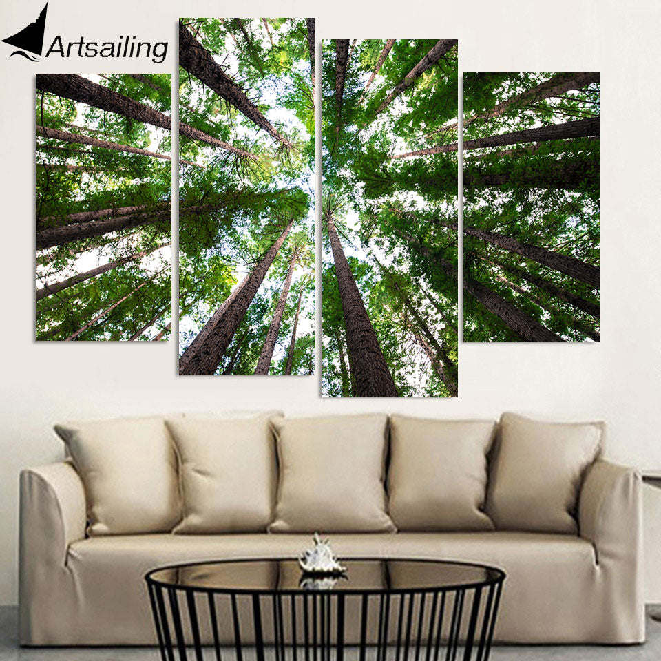 HD Printed 4 Piece Canvas Art Green Forest Painting Framed Tall Tree Wall Pictures for Living Room Modern Free Shipping NY-6998D