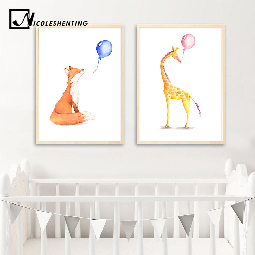 Watercolor Deer Elephant Balloon Posters Animal Canvas