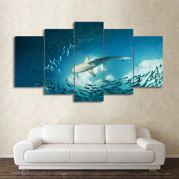 HD Printed 5 Piece Canvas Art Shark Painting Cluster of Fish Deep Blue Ocean Wall Pictures Decoration Free Shipping CU-1951B