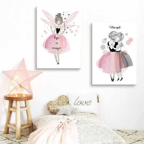 Cartoon Girl Cuadros Decoracion Nordic Style Kids Decoration Picture Wall Art Canvas Painting Posters And Prints No Poster Frame