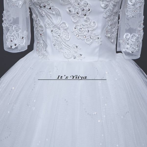 Free shipping 2017 Summer Sleeves Lace Bling Boat Neck Wedding Dresses Plus size Princess Bride Gowns Vestidos De Novia HS258