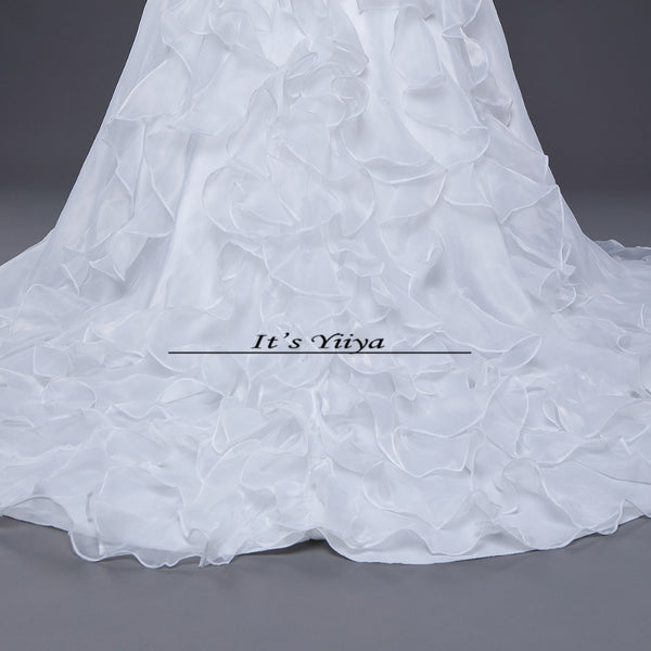 Free shipping Korean Style White Strapless Brush Train Wedding Dresses Ruffles Trailing Cheap Bride Gowns Plus size XXN039