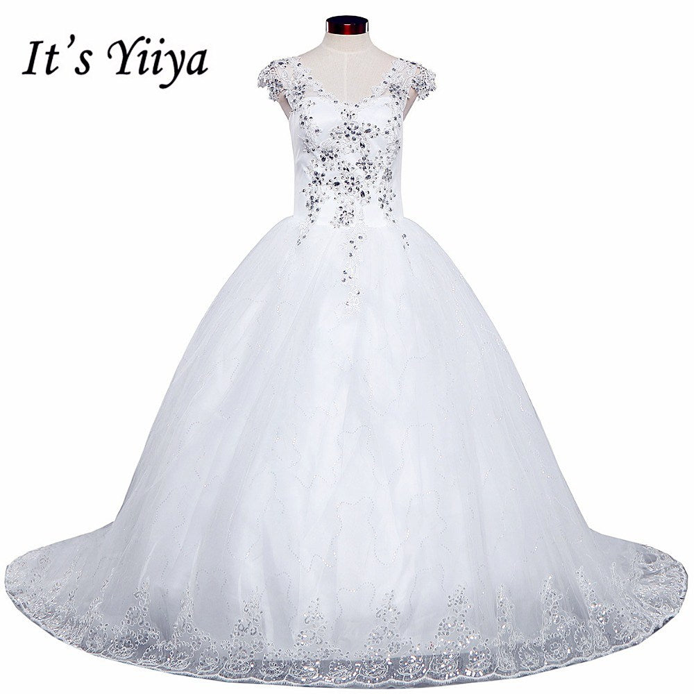 Free shipping YiiYa 2016 new Bridal White wedding dress Wedding gowns Trailing Romantic Train Frocks Vestidos De Novia HS223