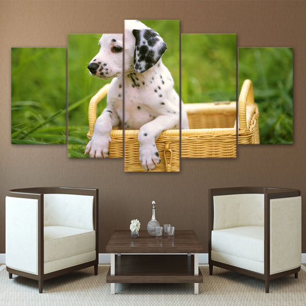HD Printed 5 Piece Canvas Art Cute Pet Dalmatian Painting Canidae Poster Wall Pictures for Living Room Free Shipping NY-6965A