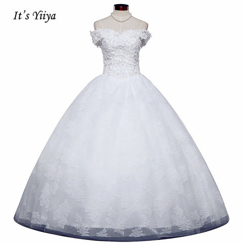 Free Shipping Appliques Wedding dresses Strapless Vestidos De Novia Off white dress Bridal Ball gowns Sleeveless Frocks IY032