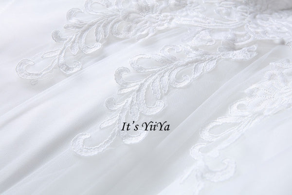 Free Shipping High neck Vestidos De Novia Off white dress Bridal Ball gowns Long sleeve Frocks Elegant Wedding dresses IY030