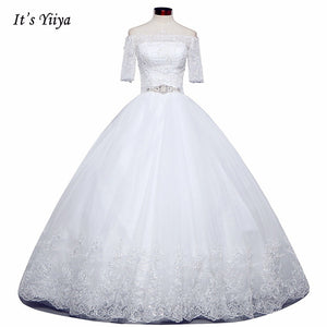 2017 New Arrival Free Shipping Off white Wedding dresses Boat Neck Bridal Ball gowns Half Sleeve Frocks Vestidos De Novia IY022