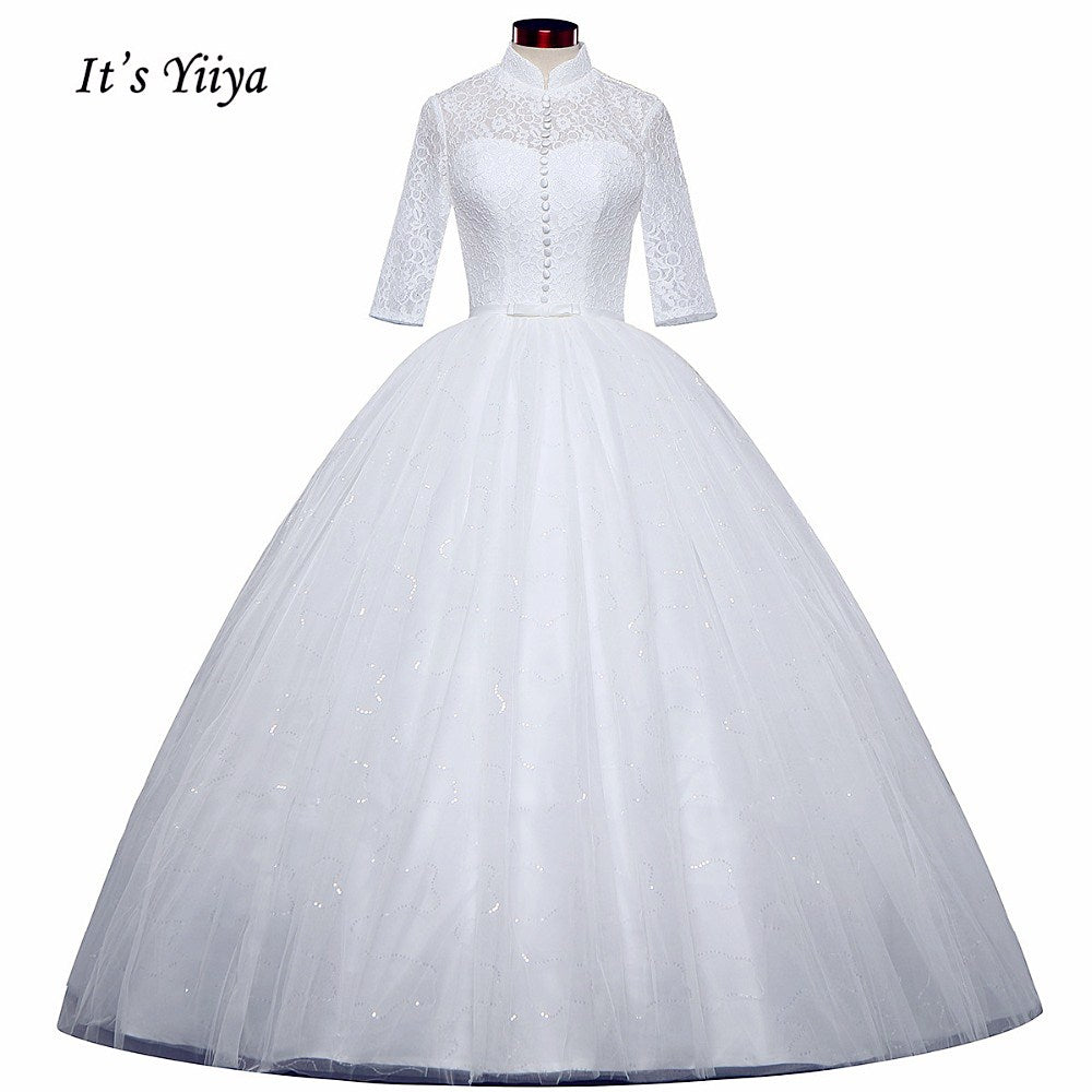 Free shipping White Wedding Ball Gowns High neck Three Quarter Sleeves Princess Vestidos De Novia Lovely Frock Bride Dress IY001