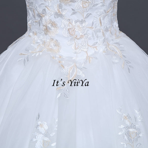 2017 New Free shipping Strapless Sleeveless Wedding Dresses Plus size Ball Gowns Appliques Frocks dress Vestidos De Novia IY009