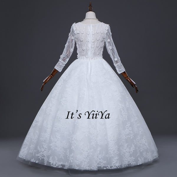 Free Shipping Wedding dresses O-neck Vestidos De Novia Off white dress Bridal Ball gowns Long sleeve Frocks Appliques IY031