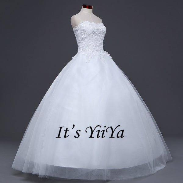 2017 New Arrival Free Shipping Off white Wedding dresses Strapless Bridal Ball gowns Sleeveless Frocks Vestidos De Novia IY021