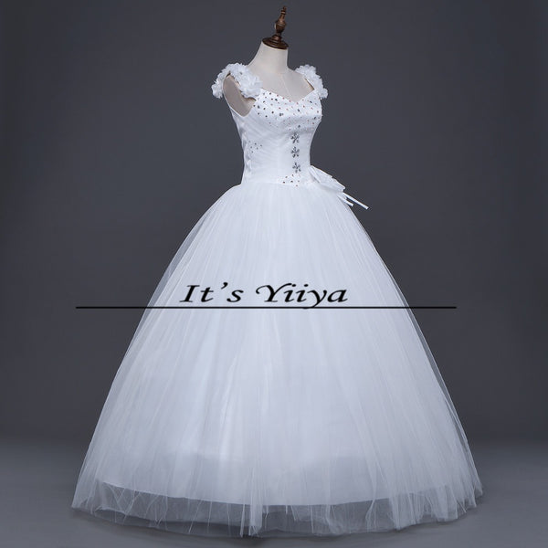 Free shipping 2017 New off White Sleeveless Princess Vestidos De Novia Bride Wedding Gowns Wedding Frocks Dress Ball Gowns H21
