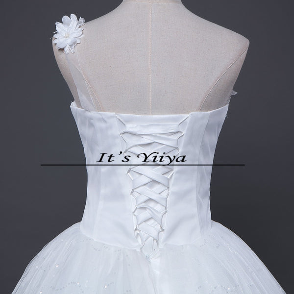 Free Shipping New 2016 Wedding dresses White Bride Wedding frocks Princess Fashon gowns Lace up Bridal Vestidos De Novia H48