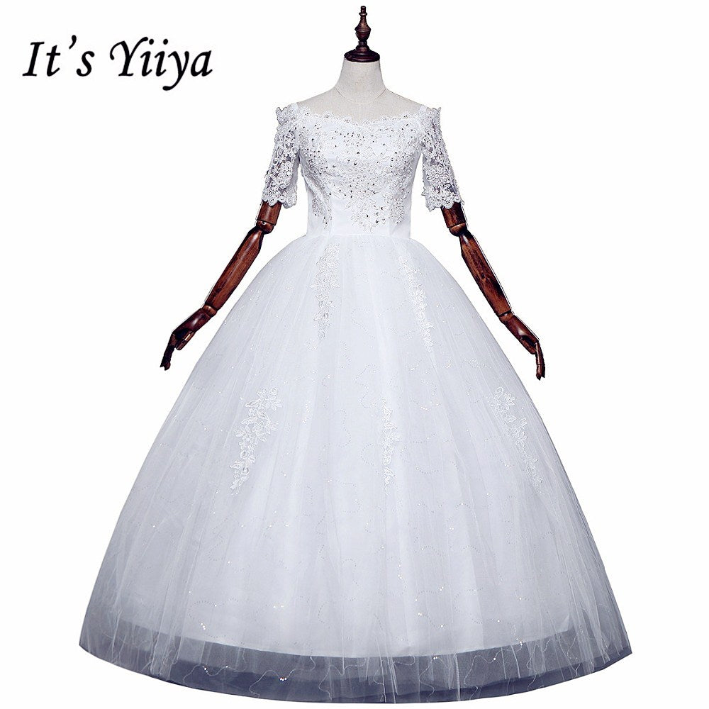Free shipping 2017 Summer Half Sleeves Lace Boat Neck Wedding Dresses Plus size Princess Bride Gowns Vestidos De Novia HS259