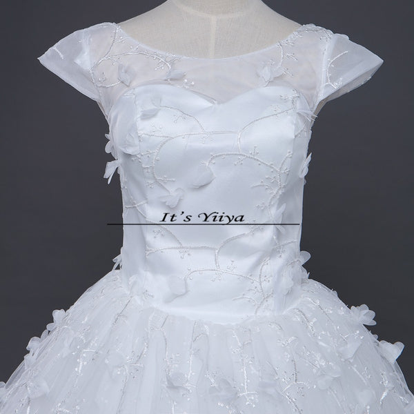 Free shipping New 2017 Summer O-Neck Short Sleeves Wedding Dresses Plus size Princess Bride Gowns Vestidos De Novia HS253