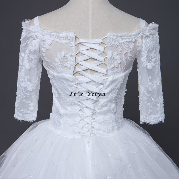 Free shipping New 2017 Summer Boat Neck Lace Sleeves Wedding Dresses Plus size Princess Bride Frocks Vestidos De Novia HS248