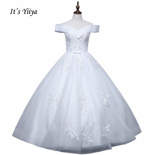 Vestidos De Novia 2017 New Arrival Free Shipping Off white Wedding dresses Boat Neck Bridal Ball gowns Sleeveless Frocks IY023