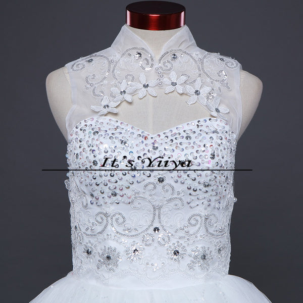 Free Shipping Cheap White Sexy Wedding Frocks Princess High Collar Sexy Wedding Dress Bride Vestidos De Novia Ball Gowns H60