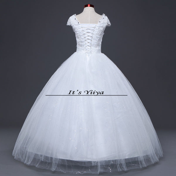 Free shipping Vestidos De Novia Elegant Bridal White wedding dress Full length ball gowns Princess Cheap Wedding Frocks HS220
