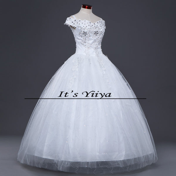 Free shipping White Wedding Ball Gowns Short Sleeves Boat Neck Cheap Princess Vestidos De Novia Wedding Frock Bride Dress HS242