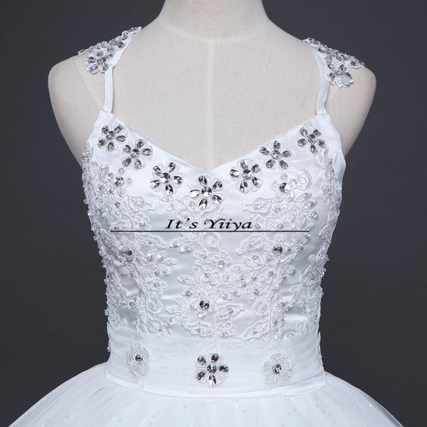 Free shipping 2016 High Quality White or Red Wedding Dress Sexy Princess Sequins Vestidos De Novia Frocks Ball gowns HS592