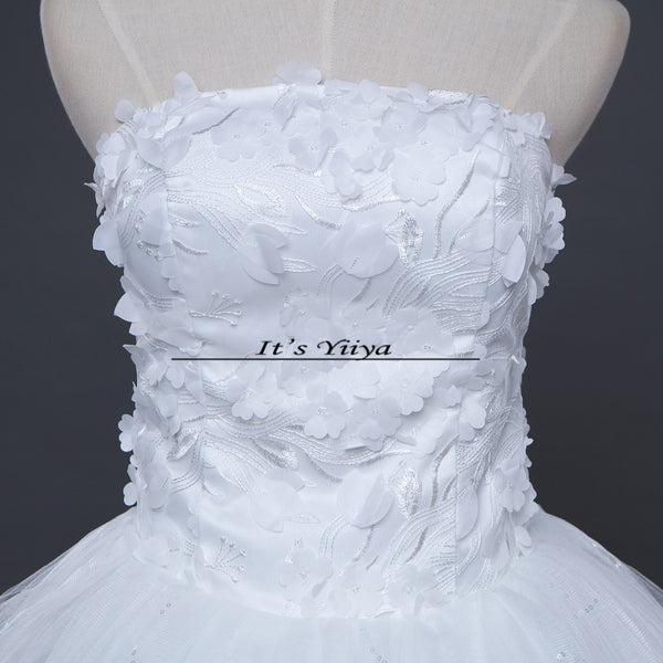 Free shipping New 2017 Summer Flowers Strapless Wedding Dresses Plus size Princess Bride Gowns Vestidos De Novia HS254