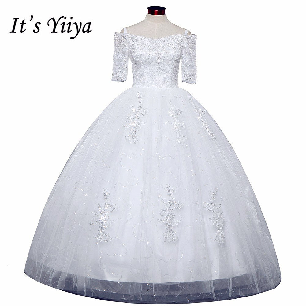 Free shipping New 2017 Summer Boat Neck Lace Half Sleeve Wedding Dresses Plus size Princess Bride Frocks Vestidos De Novia HS247