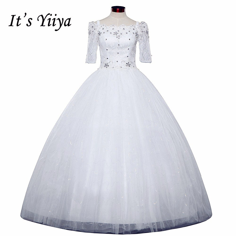 Free shipping New 2016 Half Sleeves Wedding Dresses Sexy Lace red White Wedding Ball Gowns Wedding Frocks Vestidos De Novia H79