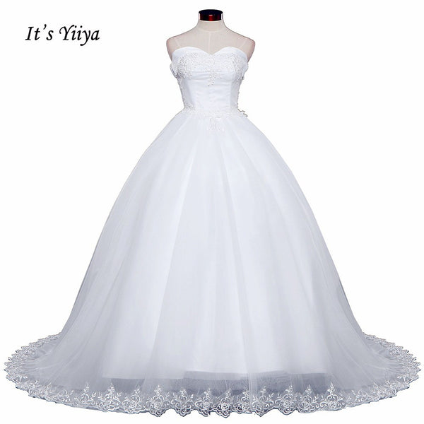 2017 Free shipping New Arrival Sleeveless Wedding Dresses Long Train Gowns Frocks dress Strapless Vestidos De Novia IY018