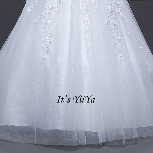 Free Shipping Long train Wedding dresses O-neck Vestidos De Novia Off white dress Bridal Ball gowns Long sleeve Frocks IY033