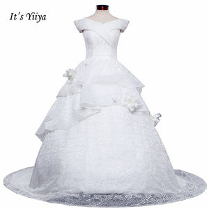 Free Shipping Long train Wedding dresses Boat Neck Vestidos De Novia Off white dress Bridal Ball gowns Sleeveless Frocks IY034