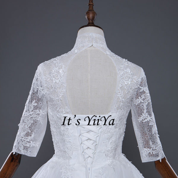 Free shipping Korean Style Train dresses off White Wedding dress Full sleeve high-neck Vestidos De Novia Classic Frock IY003