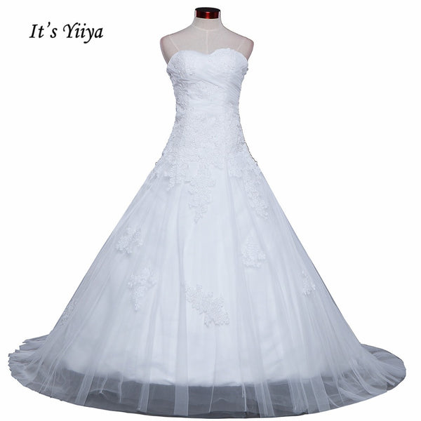 Vestidos De Novia  Free Shipping Strapless Appliques Wedding dresses Bridal Ball gowns Sexy Sleeveless Train Frocks IY025